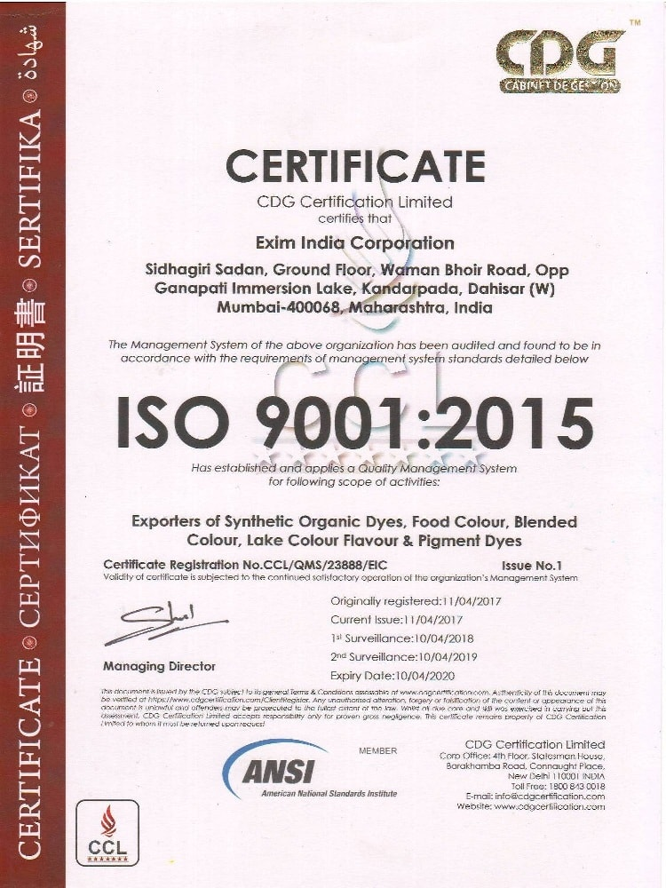 Certification Exim India Corporation Blended Food Colors